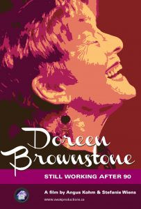 "Poster with stylized, laughing profile of Doreen Brownstone with text ""Doreen Brownstone: Still Working After 90; A film by Angus Kohm and Stefanie Wiens"